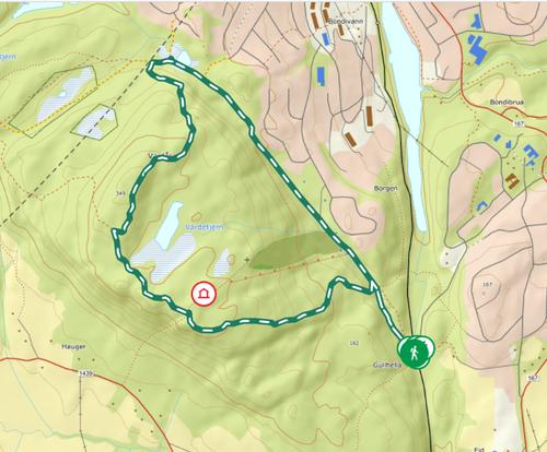 kart over tur til toppen av Vardåsen