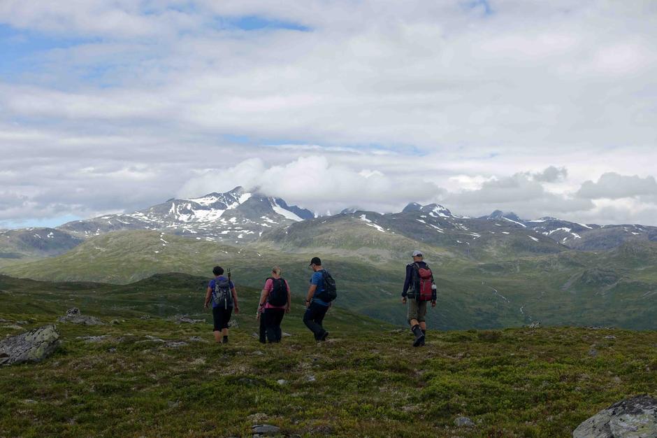 Tur til Li og Ormsete: Hyttefjellet. I bakgrunnen ser me nesten  store Austabotntind og Hurrungane.