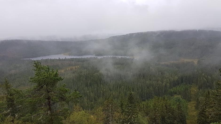 Utsikt fra Elgklinten en regnværsdag