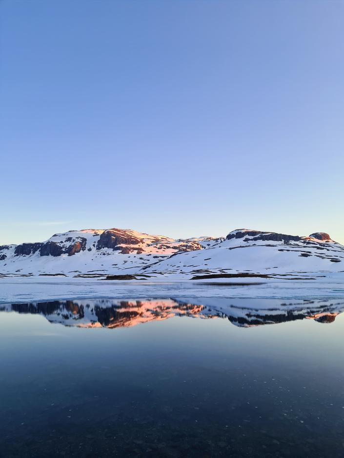 Fortsatt snø videre sørover fra Haukeliseter.