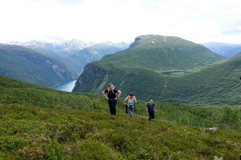 Tur til Li og Ormsete: På veg opp frå Ormsete mot Lovardalsvatni. I bakgrunnen ser ein Årdalsvatnet, Skorsfjellet og Bøttejuv og Sjursete.