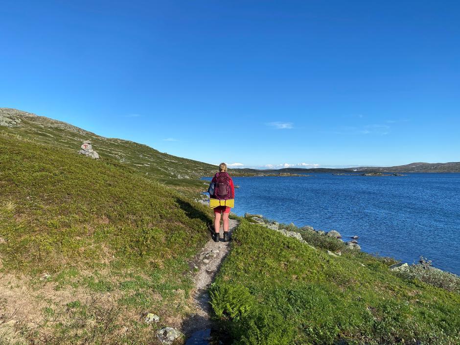 Det er flotte og sommerlige forhold på ruta Finse-Krækkja. Bildet er tatt 27. juni 2021.