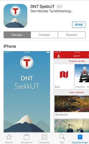 Last ned denne appen: DNT SjekkUT