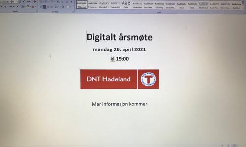 Digitalt årsmøte i DNT Hadeland  er gjennomført.