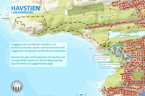 Havstien - forandret rute
