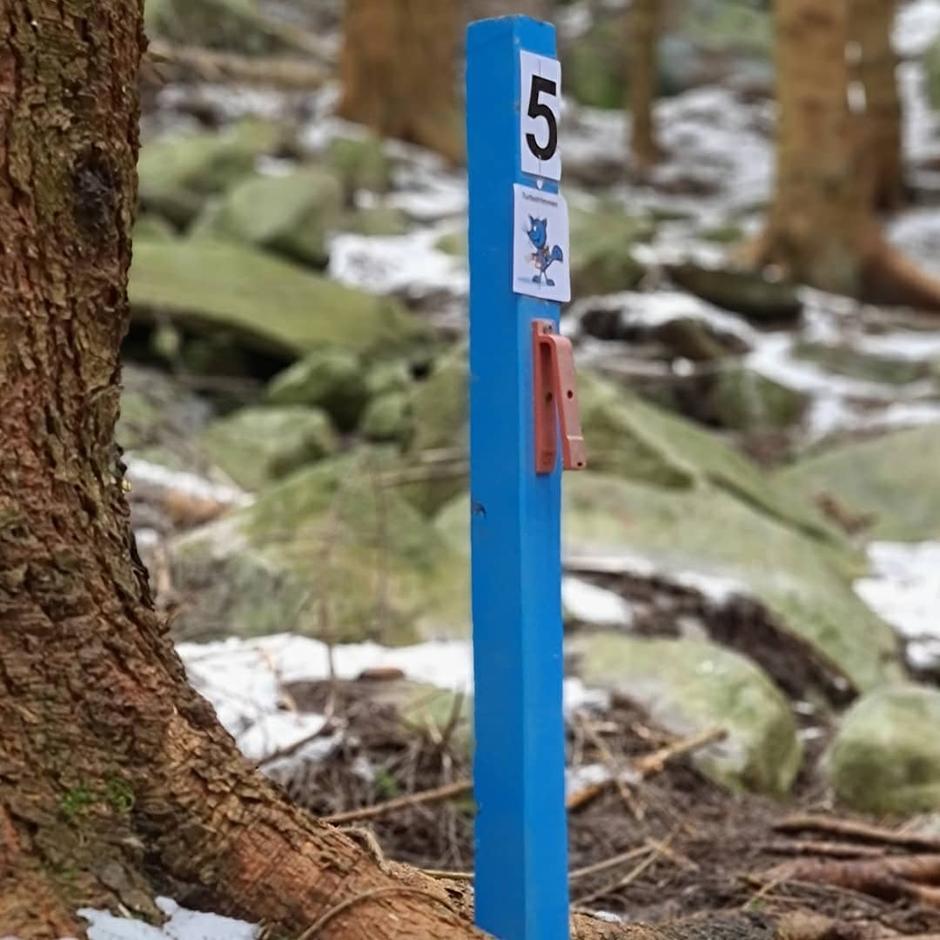 Turbotrimstolpe nr 5 er plassert i stien på vei opp til Klungersete.  Den er nett inn i skogen der hvor stien deler seg og du enten kan gå til Rødna eller Klungersete.  Er noen parkeringsplasser langs vei nede ved leikeplassen i Erraflotveien