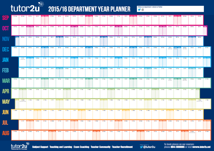 Free Department Wall Planner for 2015/16 | tutor2u