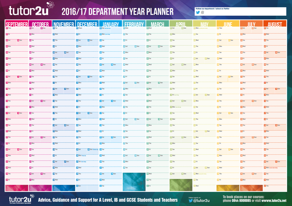a giant 2016 17 wall planner for the geography tutor2u geography