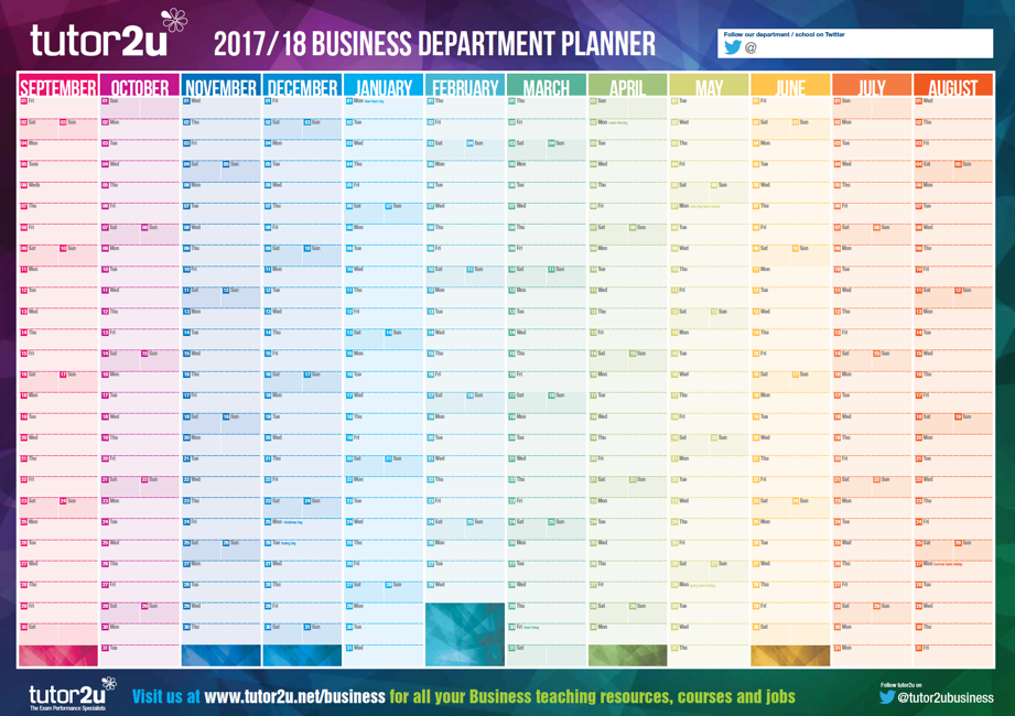Business Department Academic Year Planner (2017/18) | tutor2u Business