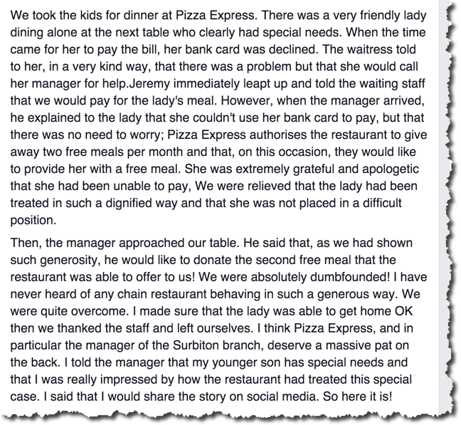 Empowerment And Customer Service At Pizza Express Business