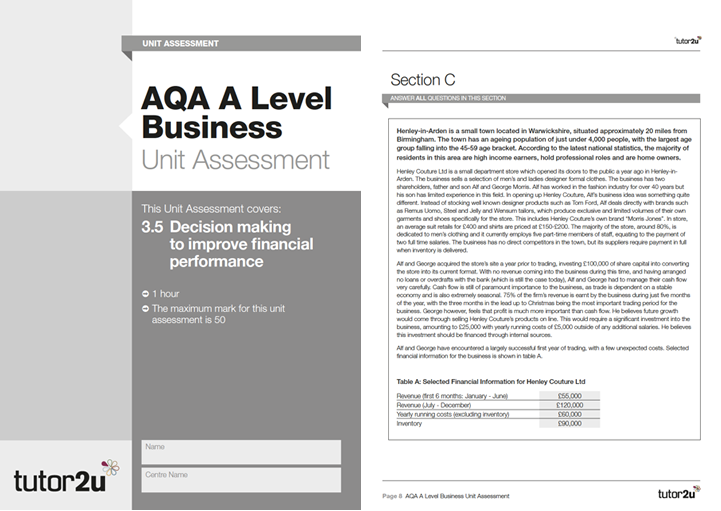 AQA A Level Business Unit Assessment: 3 5…   Business   tutor2u