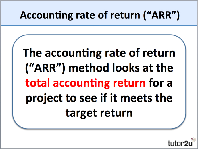 Accounting Rate of Return ARR – Define Business Investment
