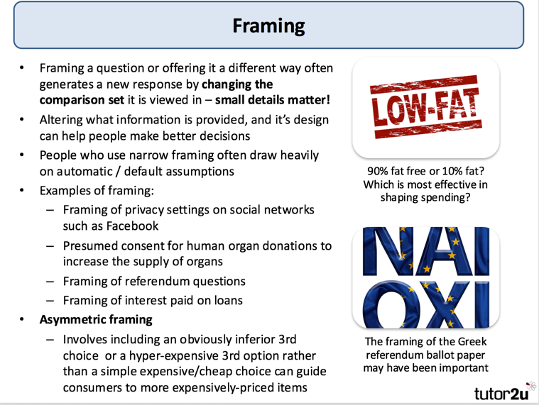 Framing and Behavioural Choice (Behavioural… | tutor2u Economics