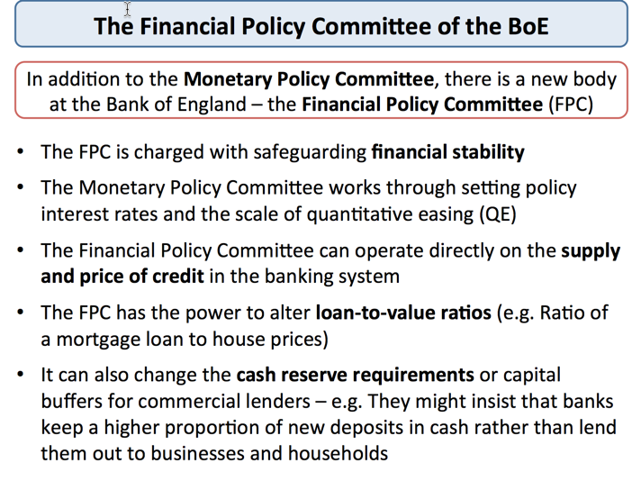 monetary policy the bank of england economics financial policy committee