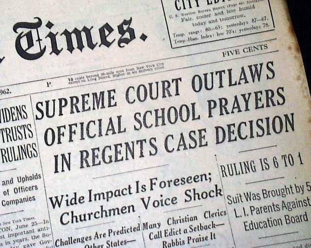 the supreme courts ruling in engel v vitale quizlet