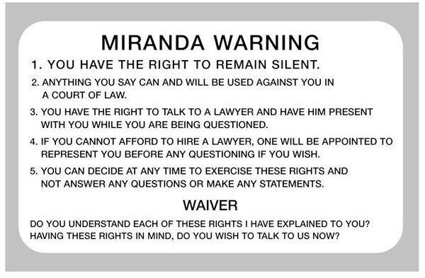 graphic about Miranda Warning Card Printable called Miranda v Arizona 1966 Politics tutor2u