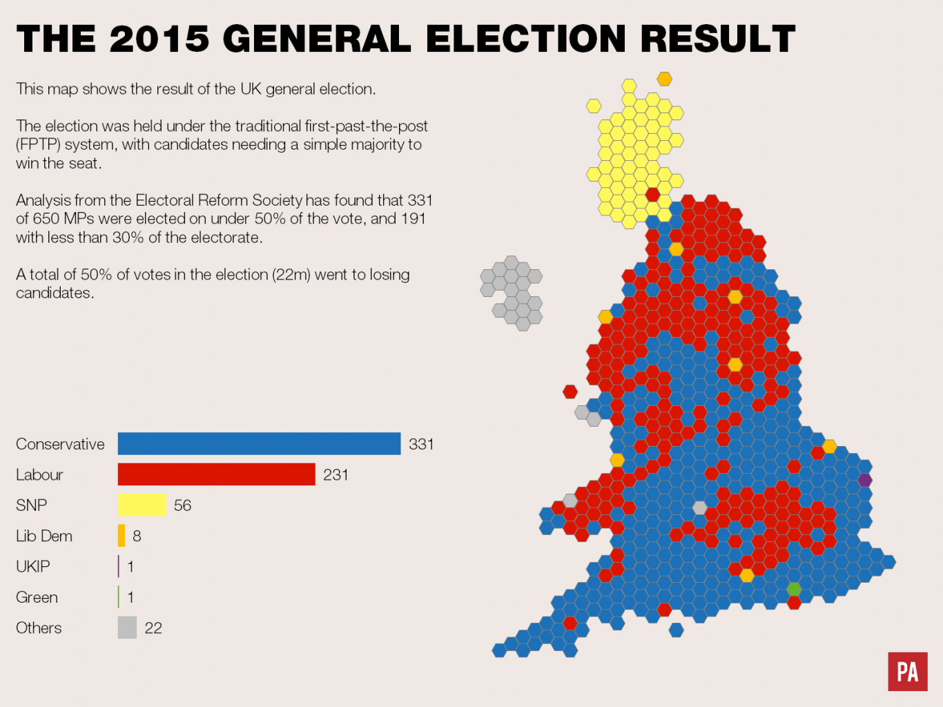 Map Of Uk Votes 2015.First Past The Post Explained Politics Tutor2u