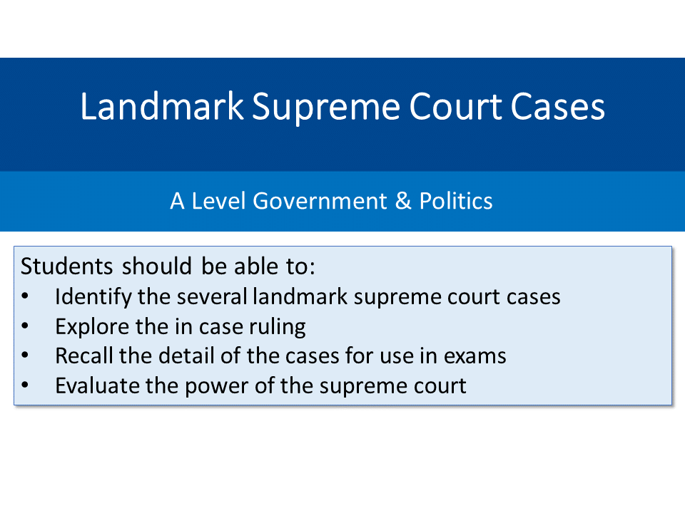 Landmark Supreme Court Cases – Landmark Supreme Court Cases Worksheet