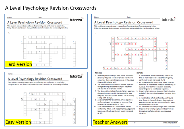 Free revision crosswords for social psychology tutor2u psychology social psychology revision crosswords ccuart Image collections