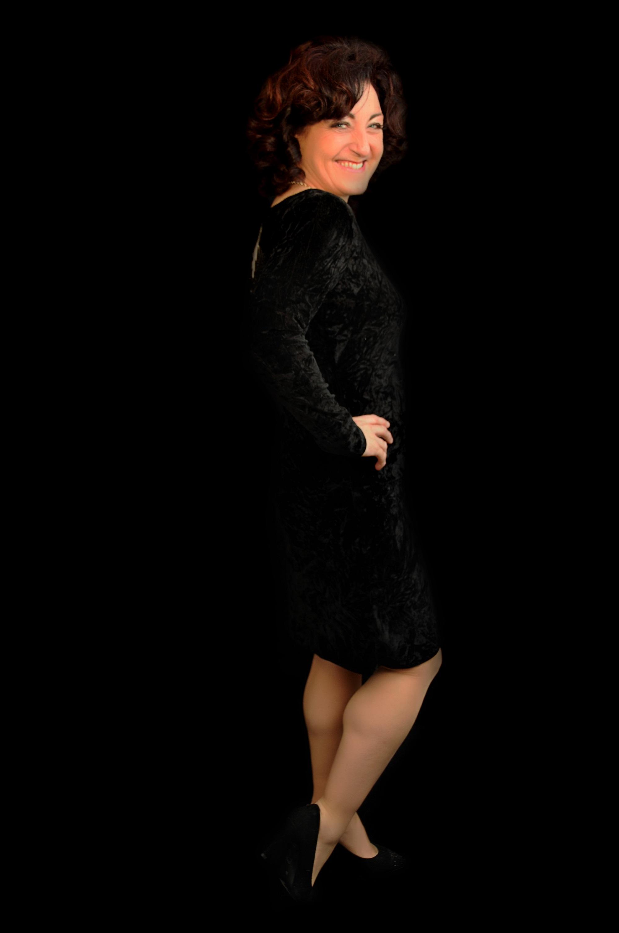 Black Velour Evening Dress