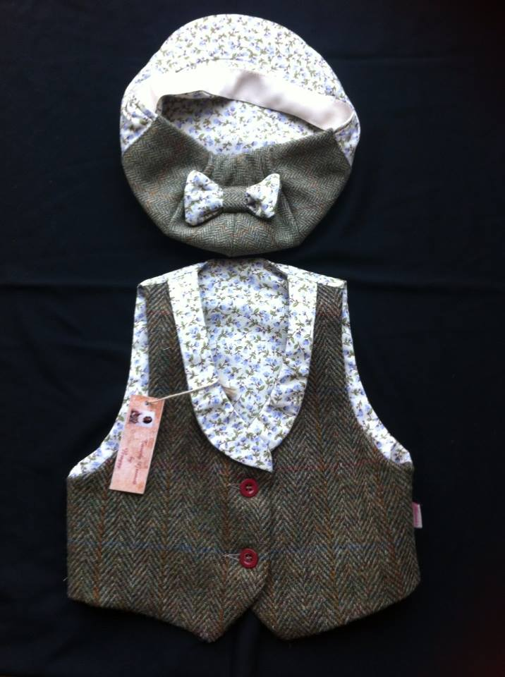 Harris Tweed waistcoat and flap cap