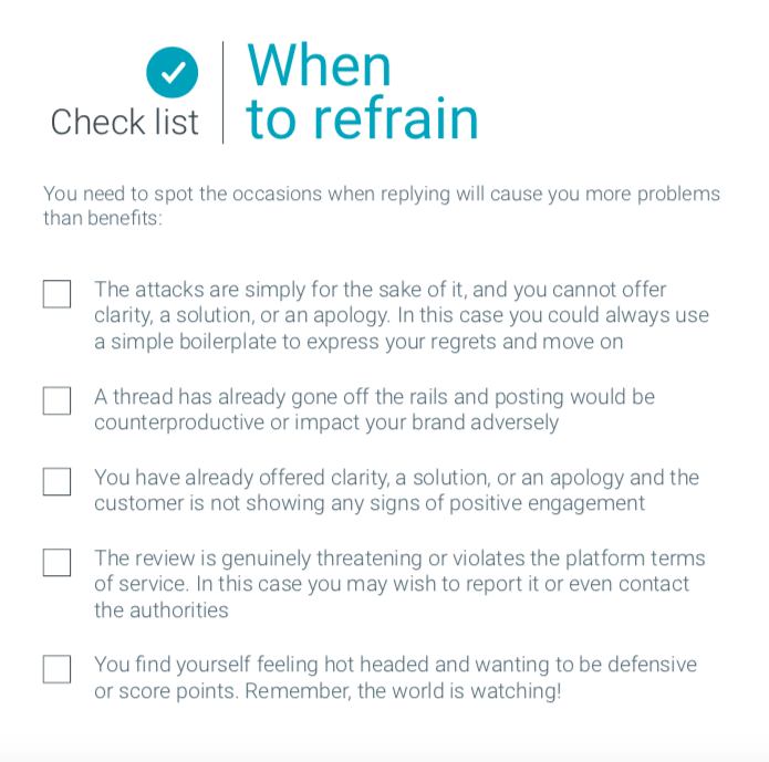 Checklist for your negative online reviews
