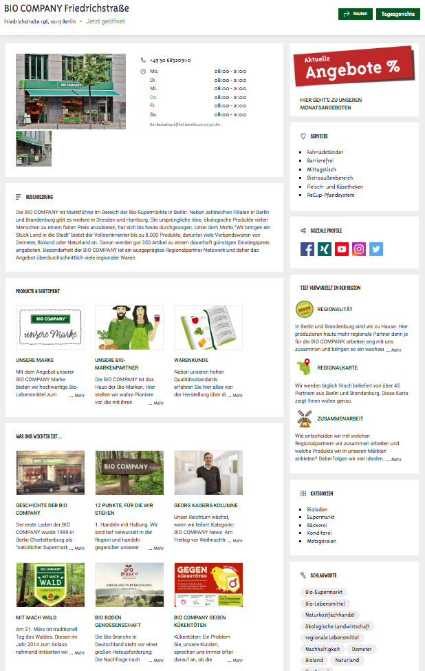 Store locator et profils Web de Bio Company pour s'optimiser pour la recherche vocale