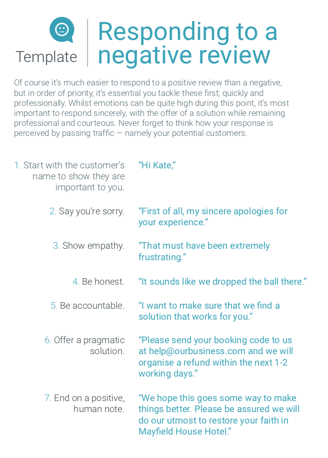 Template to respond to online negative reviews
