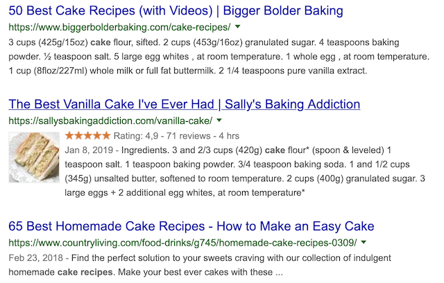 cake recipe structured data