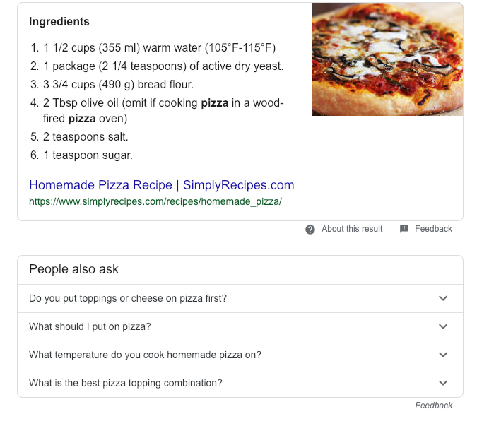 Google search results for pizza recipe