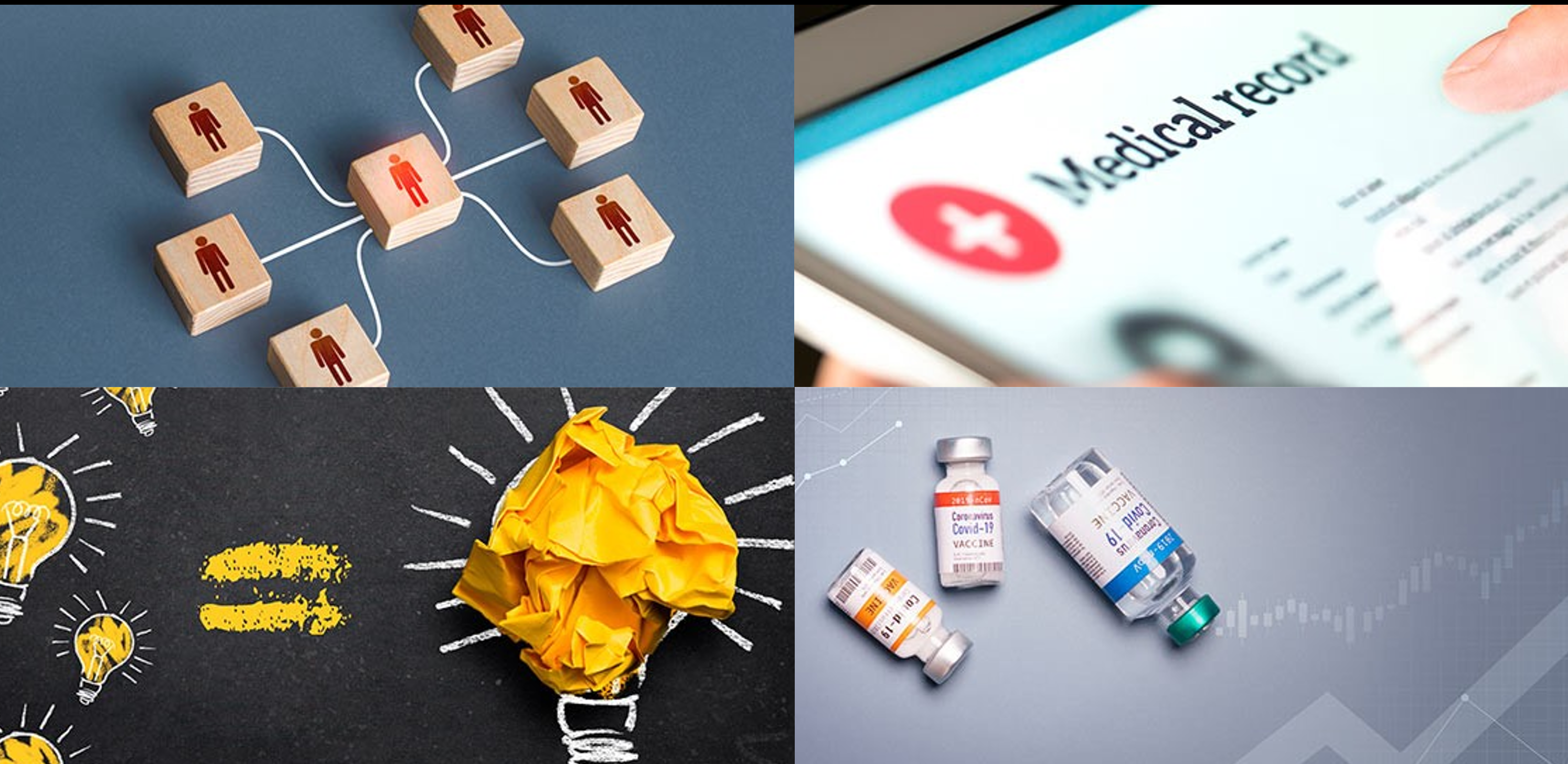 Four images: connected building blocks to represent personalised and person-centred health and care; a tablet screen showing a medical record to represent digitised and digital support of health and care; light bulbs to represent innovative collaborations; vaccine containers to represent Covid recovery and impact on health and care system