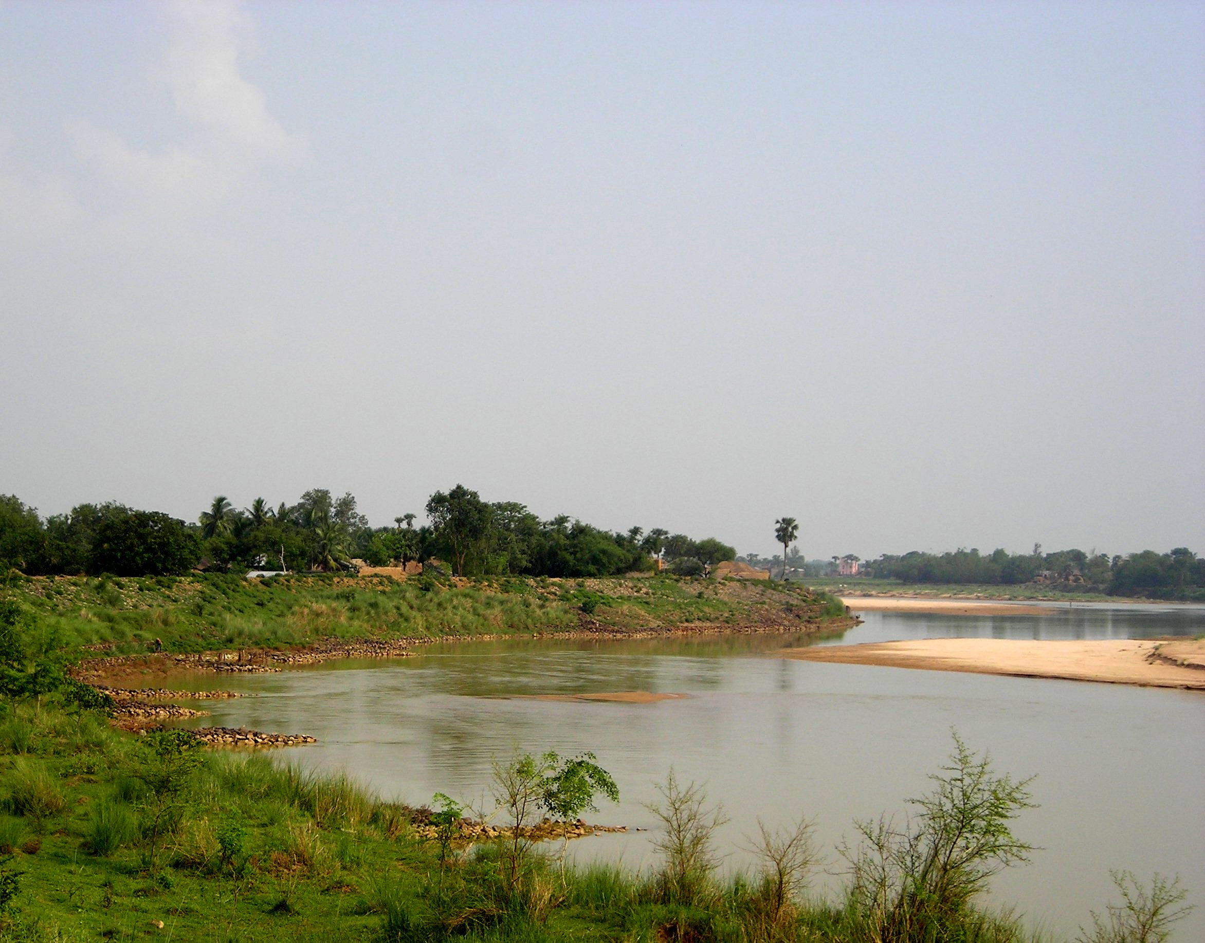 Winning Photograph - Sandy Point Bar (distinct feature of meandering river) on a reach on the Ajay River, West Bengal, India (23°38'26.25'' N, 88° 1'41.73'' E)