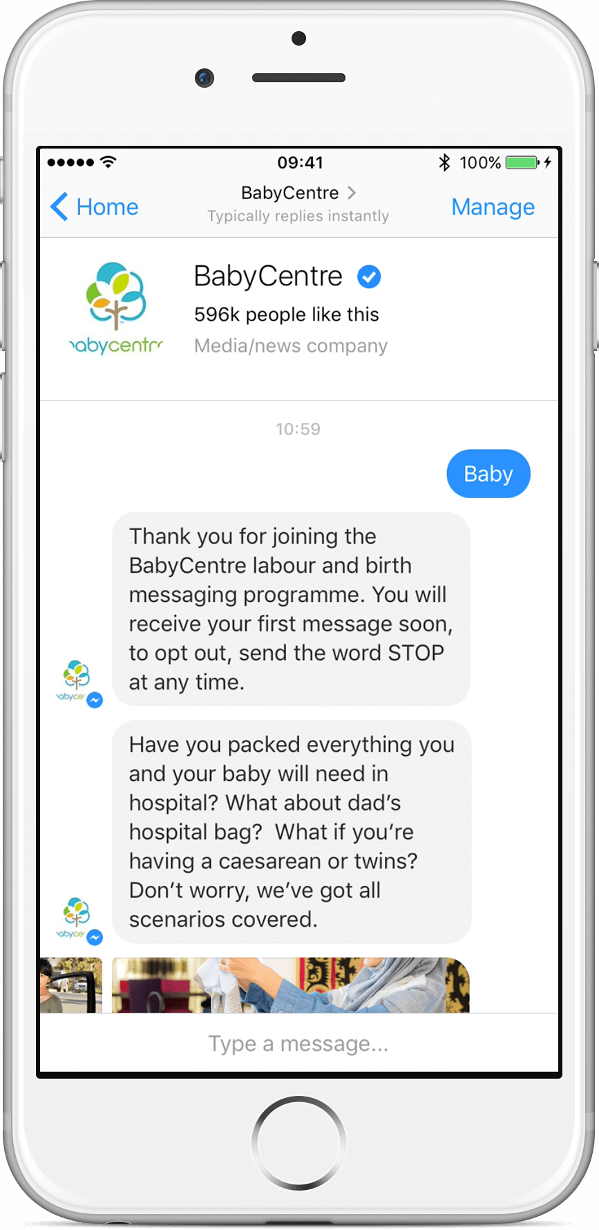 babycenter chatbot ubisend