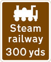Steam railway tourist attraction 100 yards ahead