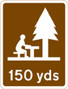 Picnic area 150 yards ahead