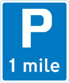 Distance to a parking place ahead