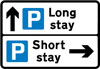 Directions to different types of parking place from a junction ahead