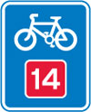 Number route for pedal cycles forming part of a national cycle route network