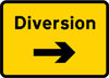 Start of temporary diversion route to the right