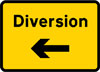 Start of temporary diversion route to the left