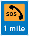 Emergency telephone 1 mile ahead