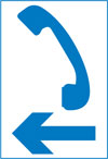 Direction to the nearest emergency telephone on the same side of the road