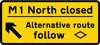 Junction ahead leading to a temporary diversion route, follow symbolic route