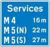 Availability of motorway service areas ahead with distances