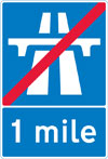 End of motorway regulations, including the national speed limit in 1 mile