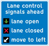 Lane control signals in operation on the road