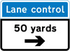Distance and direction of a system of lane control light signals