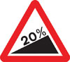 Steep hill upwards ahead (20%)