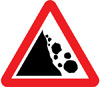 Risk of falling or fallen rocks ahead