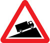 Slow moving vehicles likely on incline ahead
